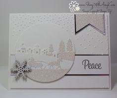 Peaceful Wreath with Sleigh Ride Edgelits Pinterest Christmas Cards, Christmas Cards 2018, Create Christmas Cards, Stamped Christmas Cards, Christmas Card Crafts, Stampin Up Christmas, Christmas Settings, Xmas Cards, Holiday Cards