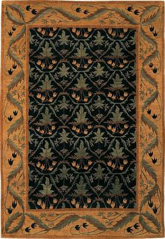 Lily Field Black 901-502 | Tiger Rug Craftsman collection.
