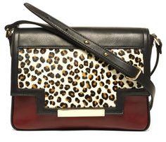 """THE """"T"""" PURSE IN LEOPARD AND BURGUNDY   Lizzie Fortunato $795"""