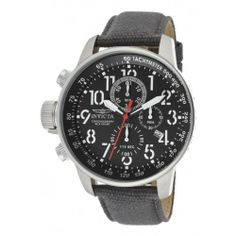 Invicta Men's 11519 I-Force Chronograph Black Dial Grey Rifle Watch Invicta. $99.00. Black dial with black and white hands, white Arabic numerals and red second hand; tachymeter scale on inner bezel; luminous; crown and pushers at 9:00. Mineral crystal; stainless steel case; grey rifle strap. Chronograph functions with 60 second, 60 minute and 1/10th of a second subdials; date window at 4:00. Swiss quartz movement. Water-resistant to 100 M (330 feet)