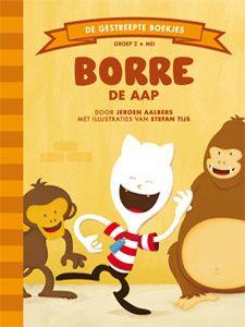 'Borre de aap' - Borre is op schoolreis. Samen met alle kinderen uit de klas en juf Jacqueline is hij in de dierentuin. Borre wil heel erg graag de apen zien. Maar de juf wil eerst langs de giraffen en de kamelen. Zodra Borre een bordje ziet met een aap erop vergeet hij de juf en de kamelen en volgt de pijl. Plots begint een luidspreker te praten: 'Juffrouw Jacqueline van basisschool De Appelflap is Borre kwijt.' Oh oh! (tekst: Jeroen Aalbers, illustraties: Stefan Tijs)