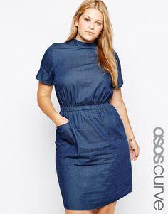 Asos Curve at Asos t shirt pocket dress in denim with high neck