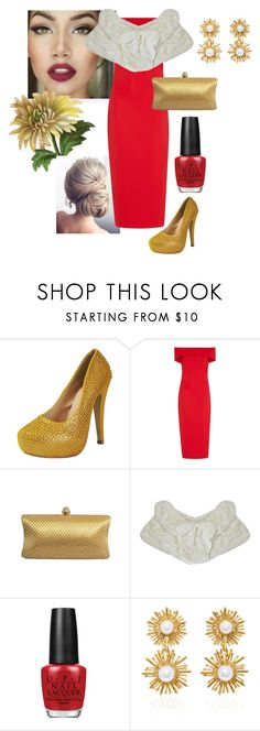 """""""Red and Gold"""" by chicastic on Polyvore featuring Cushnie Et Ochs, OPI and Oscar de la Renta"""