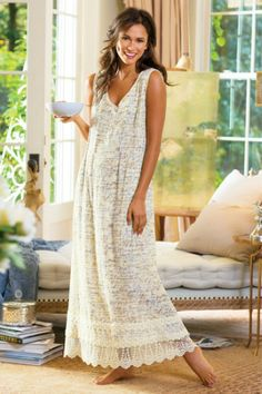 Petites Note To Self Gown - Cotton Gauze Nightgown, Lightweight Crinkle Nightgown | Soft Surroundings