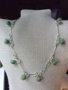 Super Classy Silver and Green Crackle Beaded Wire Wrapped Necklace