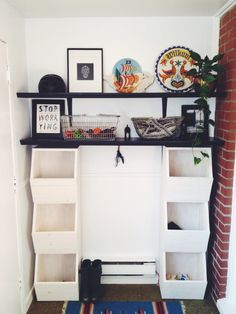 Make your own honeycomb style storage bins - perfect for a mudroom or utility room
