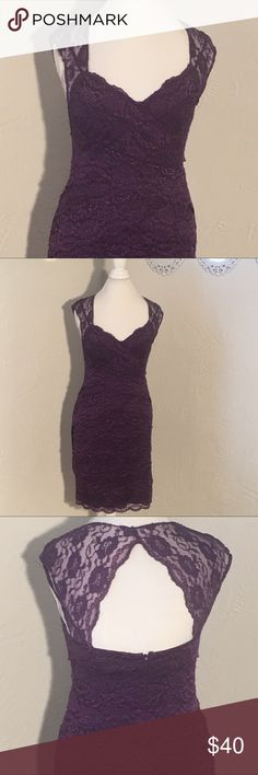 """One by eight purple lace evening dress One by eight purple lace evening dress.  Beautiful cut out back detailing.  19"""" bust measurement when laid flat. 35"""" long.  Gently worn condition. one by eight  Dresses Midi"""