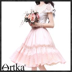 Artka Women'S Slim O Neck Patchwork Puff Sleeve Princess Sleeve Beautiful Carve Patterns Embroidery Lace Cotton Shirt
