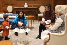 2 November 2017  TM The King and Queen of Bhutan with HRH The Gyalsey of Bhutan, and Prime Minister Shri Narendra Modi of India
