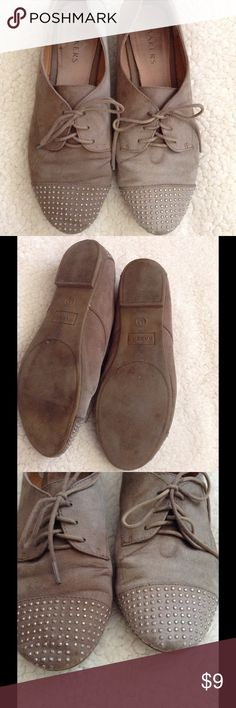 Bakers Taupe Studded Oxfords Bakers Taupe Studded Lace Up Oxfords. Fair condition. Suede material. Some of the studs are missing, and there is slight discoloration on one shoe.rice reflects wear. Price is firm unless bundled 💕 Bakers Shoes Flats & Loafers