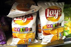 Weird foods in Paris France: Lay's potato chips - mystery flavor I'd so try that looks yummy...