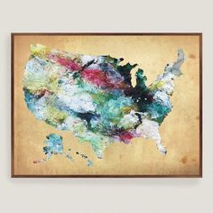 One of my favorite discoveries at WorldMarket.com: Rustic Watercolor USA Map Wall Art