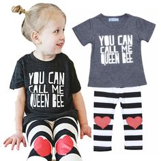 2016 summer bobo choses baby girl clothing suit brand letters printing t shirt+stripe heart pattern pants 2pcs set girl kids set