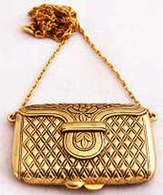 Estee Lauder Lovenote Gold Purse Necklace Solid Perfume Compact 1978