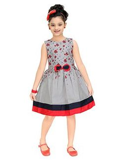 Dress up your darling daughter in this Dress from Trendy Girls and let her flaunt a new look. Featuring amazing design with Cotton Material embellished accent this .Huge Range of Pretty Girls Gown For School PartiesCotton Party Wear Frock In Grey Co Baby Girl Dress Patterns, Baby Clothes Patterns, Baby Dress, Long Frocks For Kids, Frocks For Girls, Girls Frock Design, Kids Frocks Design, Girls Casual Dresses, Little Girl Dresses