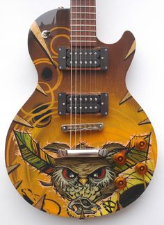 rgb - owl guitar For my man Max! Ukulele, Music Guitar, Cool Guitar, Playing Guitar, Acoustic Guitar, Bass, Guitar Painting, Beautiful Guitars, Guitar Design