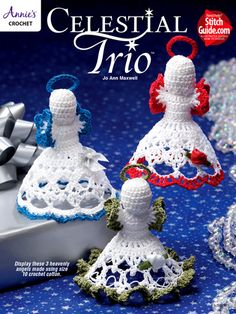 """All 3 of these dainty angelic beings are stitched using Aunt Lydia's Classic Crochet size 10 crochet cotton. They are embellished with ribbon roses and bows. Create your own look by using colors and embellishments of your choice! Size: each measure 4""""T."""