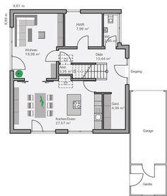 Grundriss einfamilienhaus modern gerade treppe  Grundriss EG Vettel | Ideen rund ums Haus | Pinterest | Grundrisse ...
