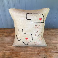 2 State Pillow, State with line Pillow, Heart State, Home State Pillow, State Burlap Pillow, Burlap Pillow, State 2 State Pillow