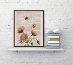 Wall art home decor Bees with flowers 2 Dictionary art poster print- Wall decor bees insect wall hanging - Wall art gift for her. Poster art...