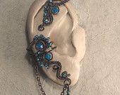 magic POND EAR WRAP- wire wrapped ear wrap, adjustable ear cuff, no piercing ear cuff, copper ear cuff, turquoise ear cuff, crystal ear cuff