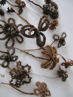 Antique Victorian Mourning Hair Ornaments Flowers