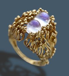 DAVID THOMAS Abstract Ring Gold Moonstone
