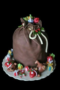 Santa's Sack, Christmas Cake - So sweet! Christmas Sweets, Noel Christmas, Christmas Goodies, Christmas Baking, Christmas Cakes, Xmas Cakes, Christmas Chocolate, Christmas Stocking, Fancy Cakes