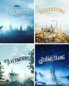 Different magic schools Hogwarts, Beaubatons, Livermorny, Durmstrang