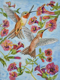 Birds and flowers watercolor painting