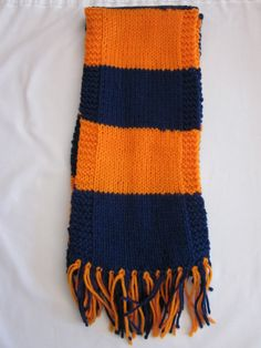 Chicago Bears or Denver Broncos Football Scarf. Hand knit scarf to show your team spirit. Measures about 65 inches long. 100% Acrylic