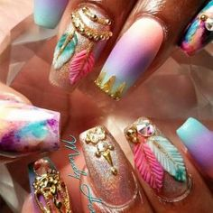 Hey there lovers of nail art! In this post we are going to share with you some Magnificent Nail Art Designs that are going to catch your eye and that you will want to copy for sure. Nail art is gaining more… Read more › Dope Nails, Get Nails, Fancy Nails, Hair And Nails, Bling Nails, Crazy Nails, Fabulous Nails, Gorgeous Nails, Pretty Nails