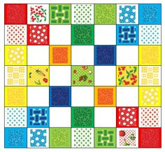 Eat Your Fruits and Veggies Quilt Design