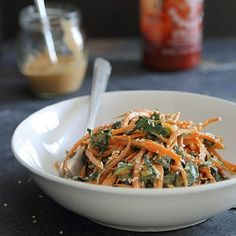 Spicy Thai Carrot & Kale Salad with a creamy sriracha peanut dressing. - Haven't tried yet, but could be good for a lunch?