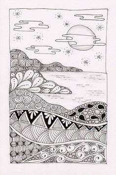 I do enjoy doing landscapes in the Zentangle method. This was one I did a while ago but never included it here. I was inspired by Val who did a series of these landscapes. Doodle Art Drawing, Zentangle Drawings, Doodles Zentangles, Zentangle Patterns, Art Drawings, Zen Doodle Patterns, Tangle Doodle, Tangle Art, Doodle Inspiration