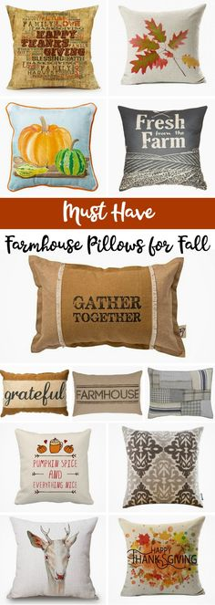 Fall Themed Farmhouse Pillows: Pillows are a fun and inexpensive way to add some autumn charm to your home decor! fall | pillows | decor | farmhouse | fixer upper