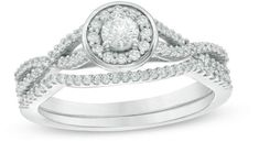 Precise 1/2 Ct Natural Diamond Square Frame Twist Shank Bridal Set In 10k White Gold Bridal & Wedding Party Jewelry
