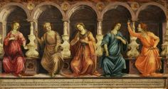 Filippino Lippi, 1457-1504, Italian, Five Sibyls Seated in Niches: the Samian, Cumean, Hellespontic, Phrygian and Tiburtine, c.1472-1475.  Tempera & oil (?) on panel; 74.3 x 141 cm.  Christ Church College Picture Gallery, Oxford, UK.  Early Renaissance.