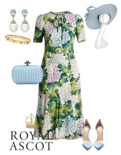 """Ladies day at the Royal Ascot"" by lilymae1997 ❤ liked on Polyvore featuring Dolce&Gabbana, Gianvito Rossi, Philip Treacy, Bottega Veneta, Kiki mcdonough and Tory Burch"