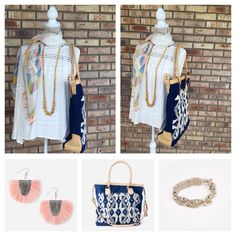 I absolutely love this combination of accessories from Noonday Collection!  Mirage Scarf, La Bella Bag, Tropic Necklace, Fringed Crescent Earrings, La Vela Bracelet.  All handmade and all fair trade! www.kristiphilhower.noondaycollection.com