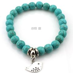 Bohemian Marble Turquoise Bead Bangle Bracelet with Silver Charm