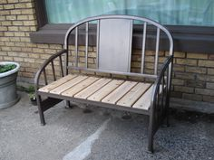 garden bench made from bed frame
