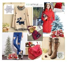 """""""yesstyle 1-Christmas"""" by elma-993 ❤ liked on Polyvore featuring Quintess, Fairyland, Dabuwawa, Lamia, Hats 'n' Tales, Christmas, yesstyle and winteressentials"""
