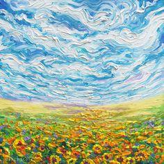 Big Sky Small Sunflowers | 16x16in  Original SOLD | Buy Prints