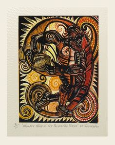 Michel Tuffery Number Nine vs Iva Polynesian Player woodcut and embossing on 380 x 280 mm paper, from an edition of Nz Art, Maori Art, Letters And Numbers, Woodblock Print, Concept Cars, Printmaking, Carving, Drawings, Artwork