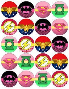SUPERHERO-GIRL-LOGO-V3-EDIBLE-WAFER-PAPER-CUPCAKE-CAKE-MUFFIN-TOPPERS