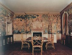 Frances Elkins designed this dining room.  Love that paper. Everything is timeless.