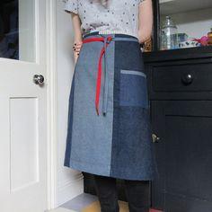 Denim half apron 8 piece Boro inspired apron individual one