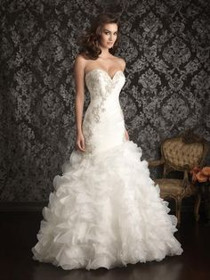Allure Bridal - #9012 ...Fit & flare gown constructed from soft organza.
