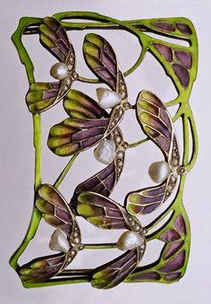 Art Nouveau Choker  --  1900  --  German  --  Gilded silver, plique--à-jour enamel & pearls.